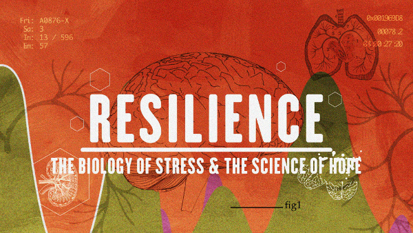 Resilience: The Biology of Stress & the Science of Hope cover image with outlines of organs and sickly green hills