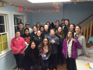 Teens pose at Bubble kit program at Pawling Library.