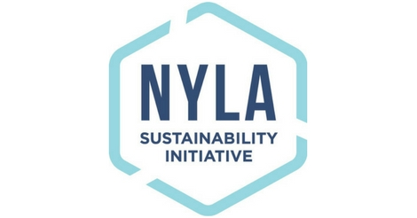 New York Library Association Sustainability Initiative hexagon logo.