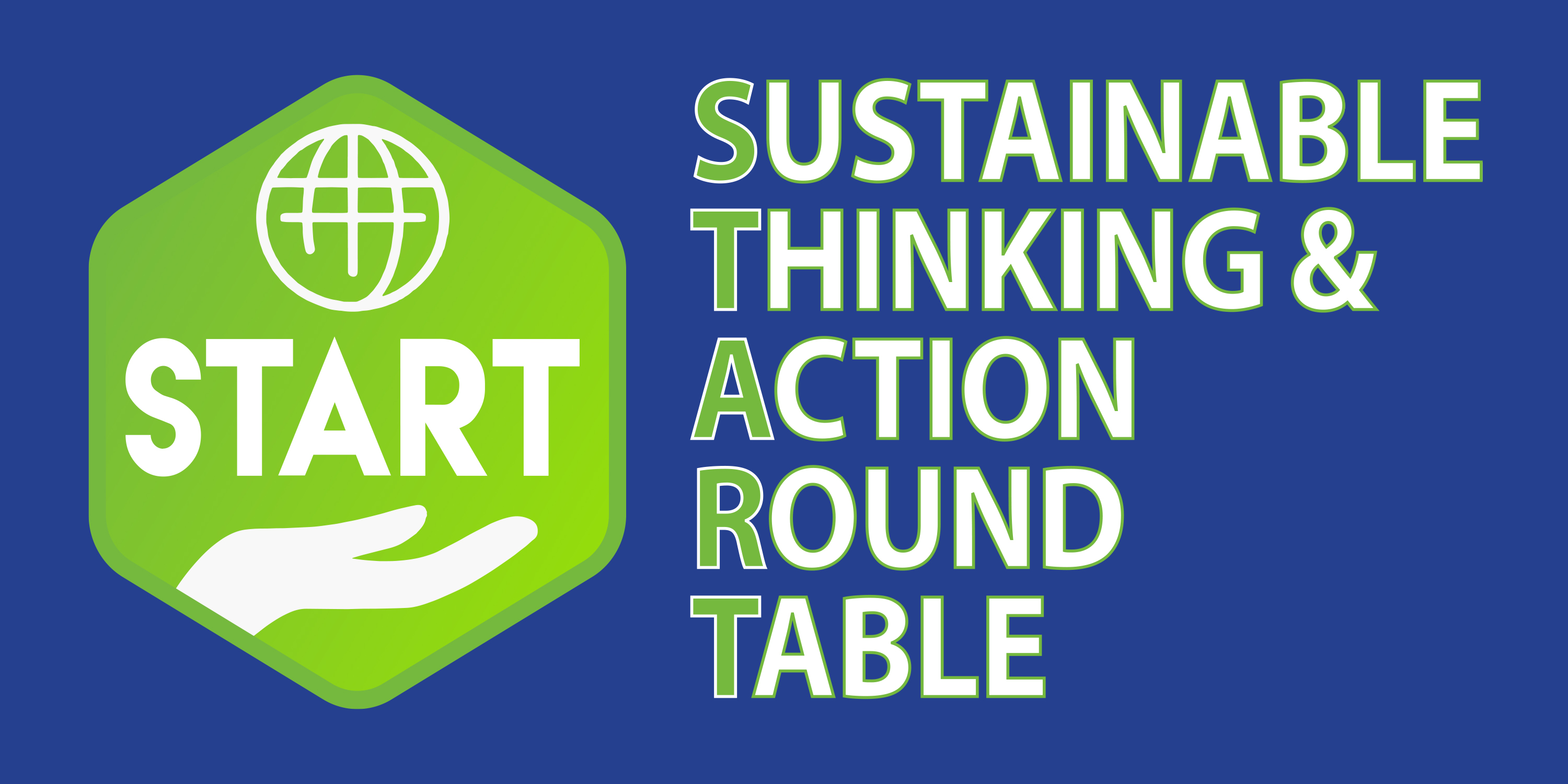 Sustainable Thinking & Action Round Table log with hand and globe