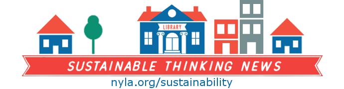NYLA Sustainability Initiative with library building icon on top.